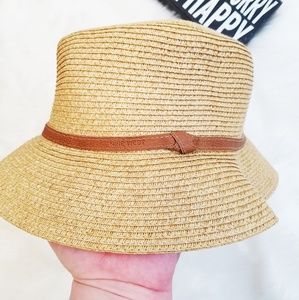 Nine West Packable Straw Fedora Hat New